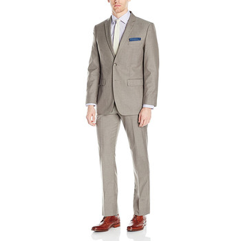 High-quality men's suit khaki lapel single-breasted men's wedding dress and business office suits (jacket + pants) custom made