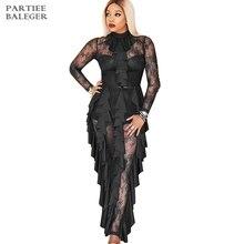 Новое поступление шикарное платье с оборками, украшенное длинными рукавами, одежда для знаменитостей, черное кружевное длинное платье макси платье