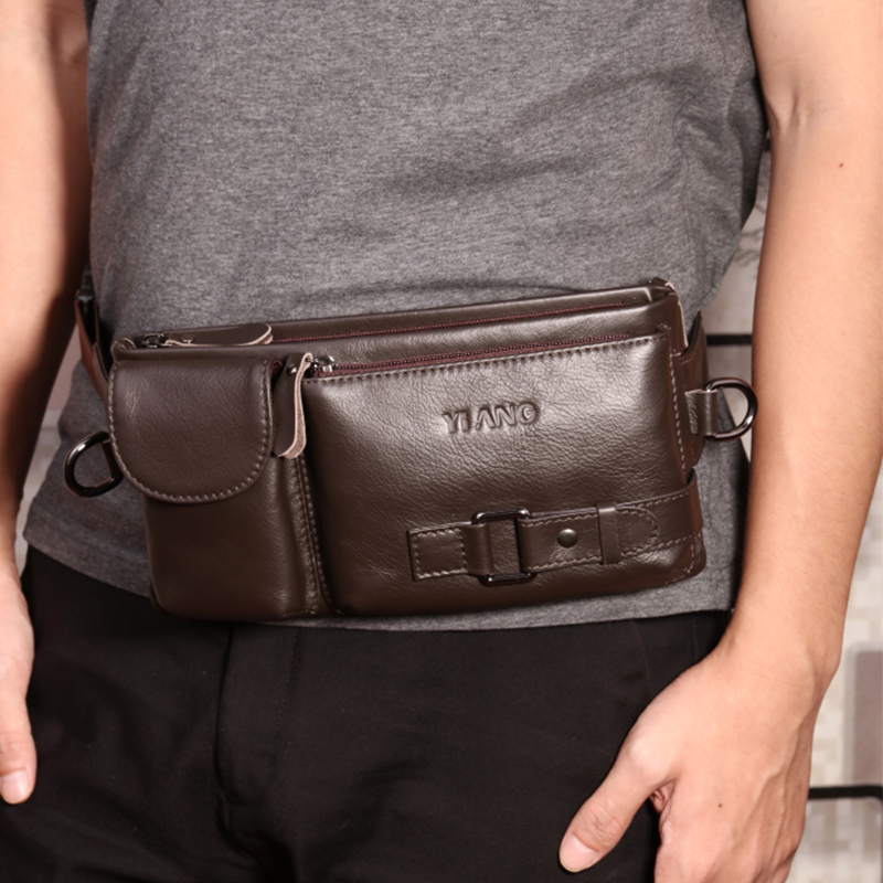 Genuine Leather Men Fanny Pack Crossbody Chest Bag Travel Natural Skin Cell Phone Case Purse Pouch Male Hip Belt Waist Bags