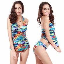 Classical Tankini Swimsuit Vintage Print Allover 2019 Most Popular Triangular Bottom Sexy Womens Swimwear Tankinis