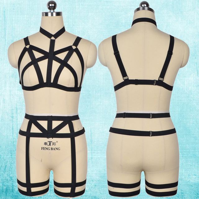 90's cupless full body harness cage bra pastel goth leg garter sexy bondage harness belt harajuku black lingerie set N0073