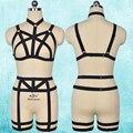 Cupless 90's full body harness gaiola bra bondage goth pastel leg garter sexy arnês cinto harajuku preto lingerie set n0073