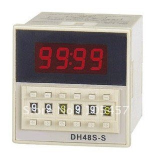 Digital time delay repeat cycle relay timer 1s-990h LED display 8 pin panel installed DH48S-S SPDT Tell us the voltage you need 1pc multifunction self lock relay dc 12v plc cycle timer module delay time relay