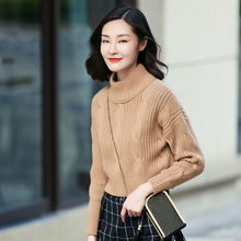 3 color Pure cashmere lady's thick short pullover turtleneck long sleeves sweater warm autumn/winter clothings