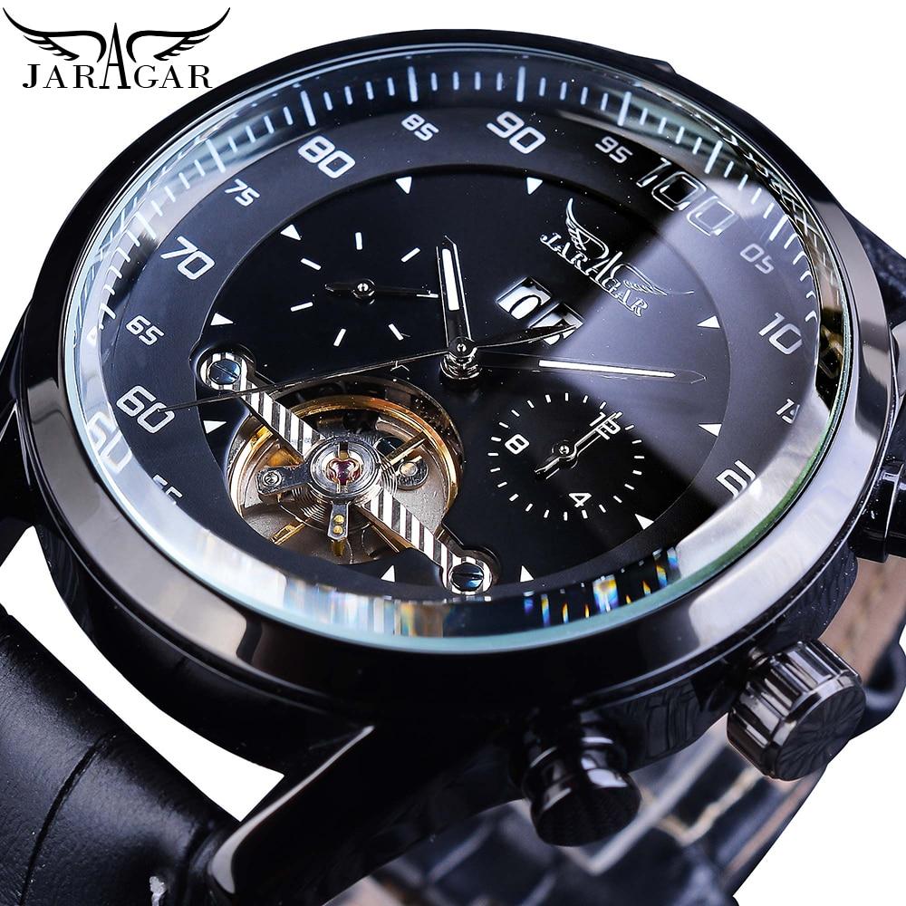 Jaragar Black Toubillion Dash Board Design Automatic Calendar Mens Leather Band Watch Sports Big Dial Self-Wind Mechanical Clock