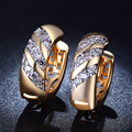 Brincos do parafuso prisioneiro de luxo 24 K banhado a ouro jóias para as mulheres AAA Zirconia MYE025 pureza do vintage bijoux Acessórios atacado