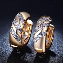 luxury stud font b earrings b font 18K gold plated jewelry for women AAA Zirconia purity