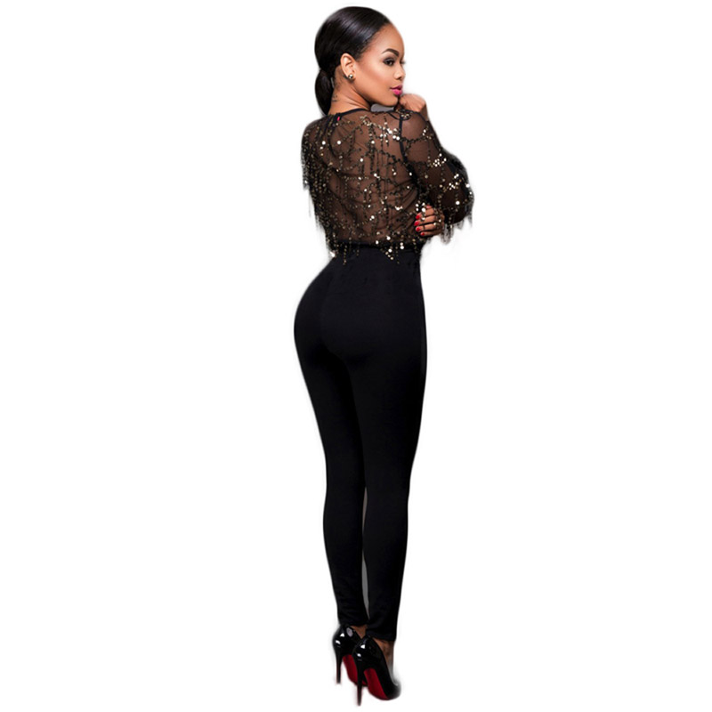 Womens Sexy Mesh See Through Top Deep V Neck Runway Party Stretch Bodycon Skinny Pants Black Sequin Long Sleeve Jumpsuit 309652
