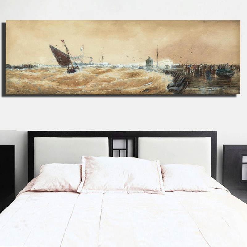 Sea And Boat Waves Canvas Painting Salling Boat Seascape