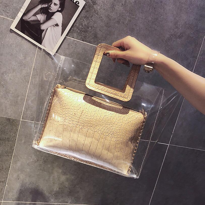 2018 Summer Transparent PVC Trendy Composite Bag Handbag Lady Bag Women Shoulder Bag #2334 Fashion Woman Crossbody Bag Female