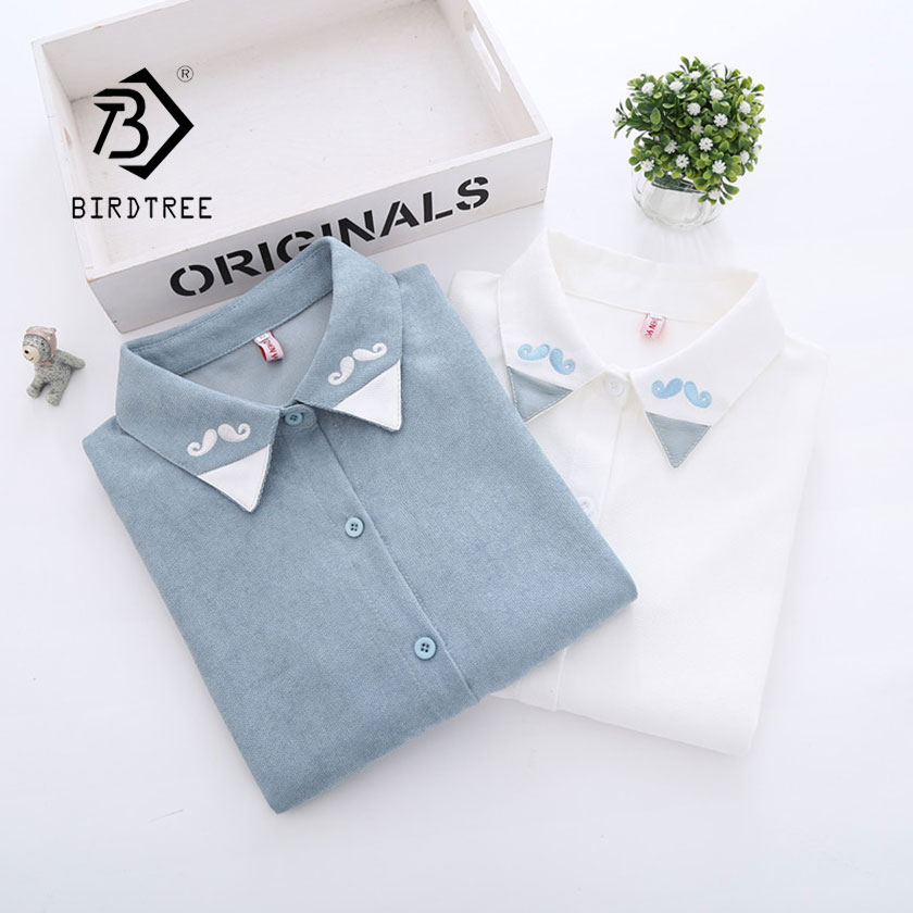 2019 New Corduroy Woman Shirt Single Breasted Turn Down Collar Long Sleeve Moustache Embroidery Button Feminina Hot Sale T8D410Z