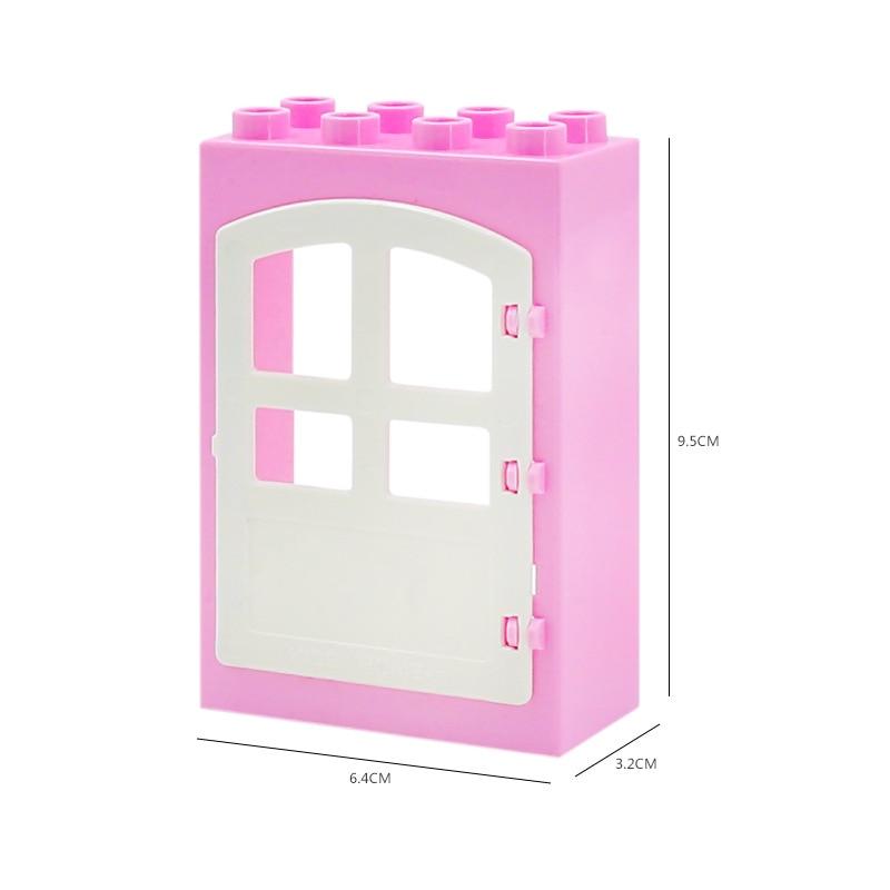 DIY House Big Particles Building Blocks Compatible LegoINGS Duploe Basics Accessory Movable Window Door Set Bricks Kids Toys (5)