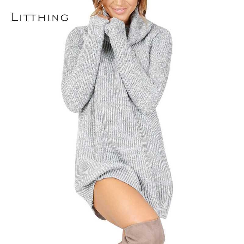 964d39a4968 LITTHING женское весеннее платье 2019 вязаное платье Водолазка с длинным  рукавом тонкое свободное платье свитера пуловеры