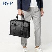BVP известный бренд Высокое качество корова кожа 14 дюймов ноутбука Для мужчин Портфели Бизнес из натуральной кожи для отдыха человек сумка J50