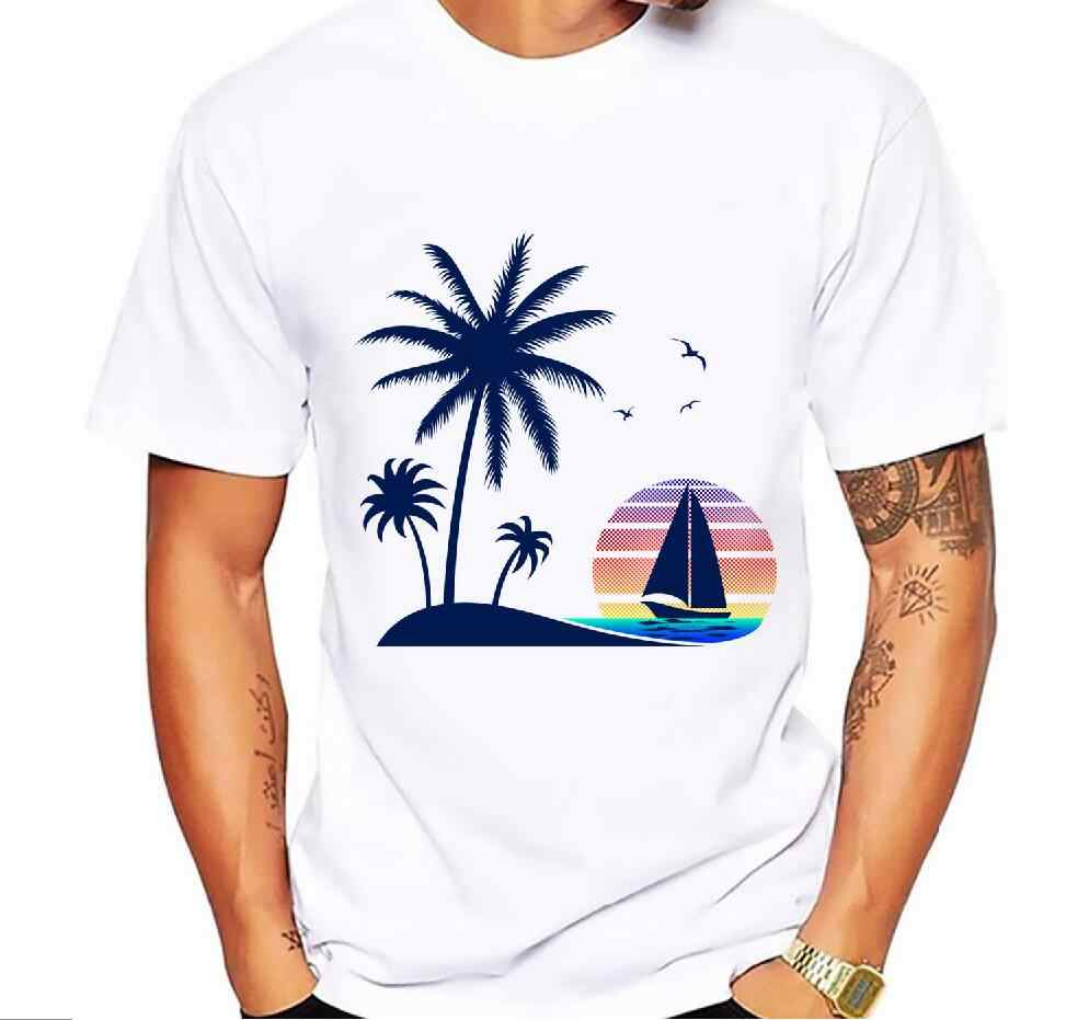 Fashion Mens T-Shirt Short Sleeve High Quality Tops Custom Hipster Vintage Beach Sunset Down the Coconut Trees tees size 5xl