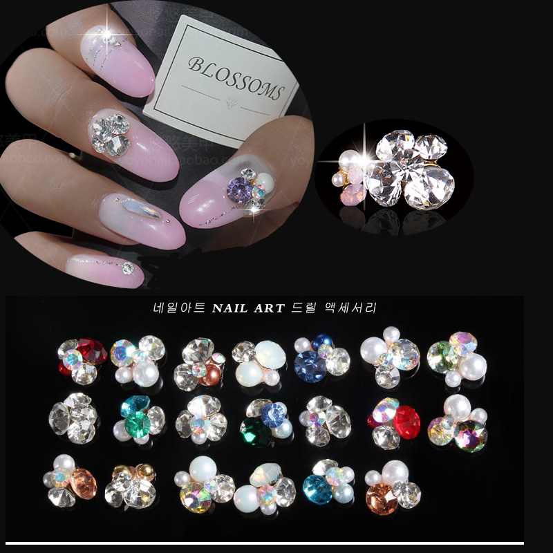 10 шт./лот, смешанные stlye 3D украшения для ногтей, стразы, блестящие ногти, ювелирные изделия, аксессуары, драгоценные камни, 17 видов цветов, дос...