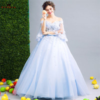 QUEEN BRIDAL Evening Dresses Ball Gown V Neck Tulle Lace Flowers Blue Long Party Dress Evening