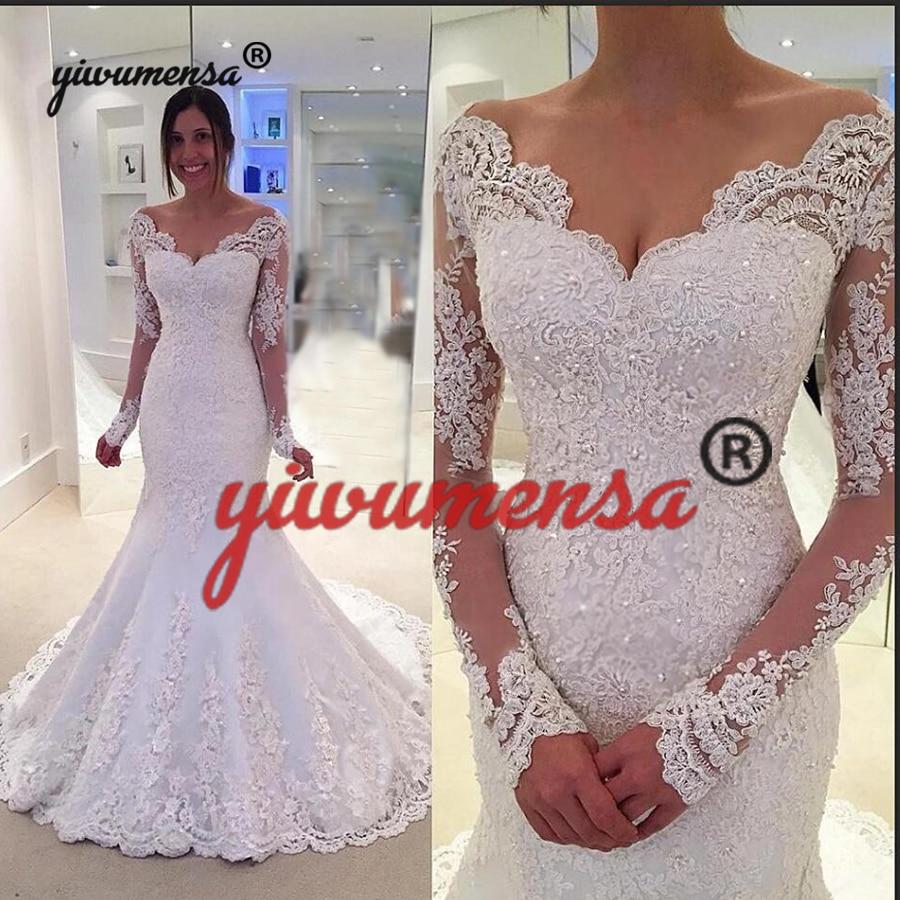 Robe de mariage Mermaid Wedding Dresses 2019 Sexy Backless V neck Wedding Gowns Vestido de noiva