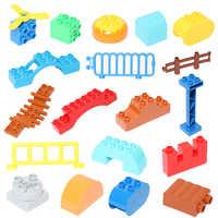 Tamanho grande partículas blocos de construção cerca escada deslizante cliver escada diy blocos tijolos acessório crianças brinquedos para crianças