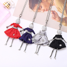 HOCOLE Long Doll Necklace For Women Red Dress Design Alloy Rhinestone Pendants Necklaces Fashion Jewelry Girl Gifts Accessories