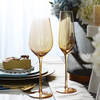 New Crystal glass cup home decor Goblet Wine Cup Champagne Glasses cocktail glass Bar party hotel glasses golden wedding glass