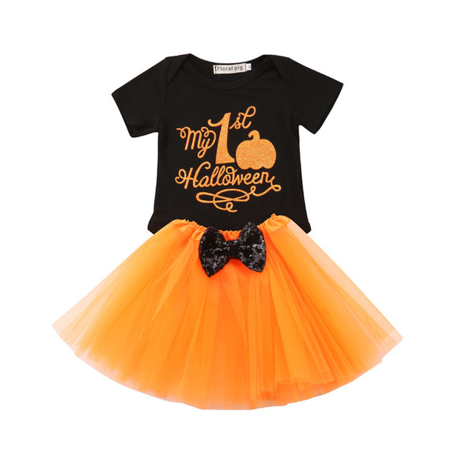 2018 halloween baby girl clothes set halloween romper jumpsuit tops tutu tulle lace ball gown shirt