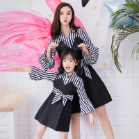 2019 Summer Mom and Daughter Family Matching Clothes Dresses Striped Patchwork Mother and Me Matching Family Look Clothes