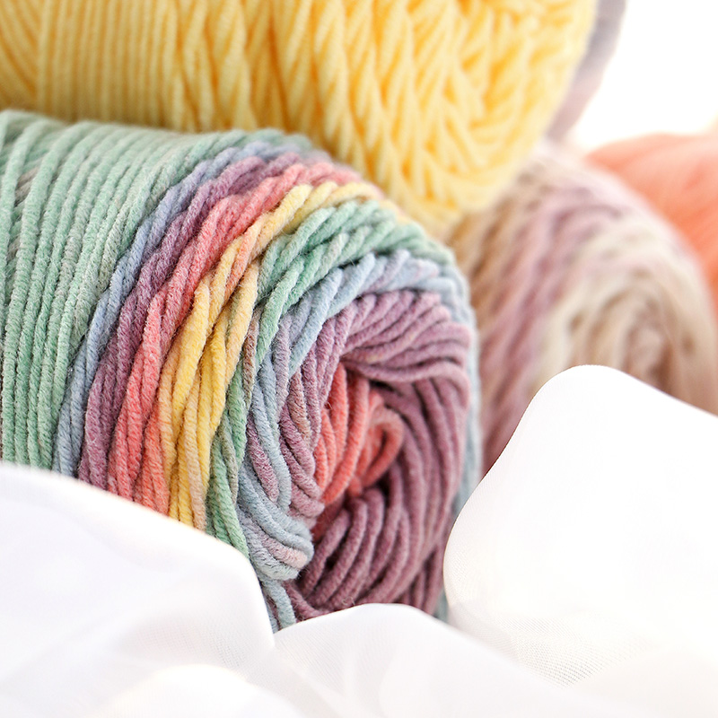 1Pcs 100grams 2017 New Rainbow Color Cotton Yarn Soft Crochet Thick Yarn For Hand Knitting Warm Coat Sweater 1