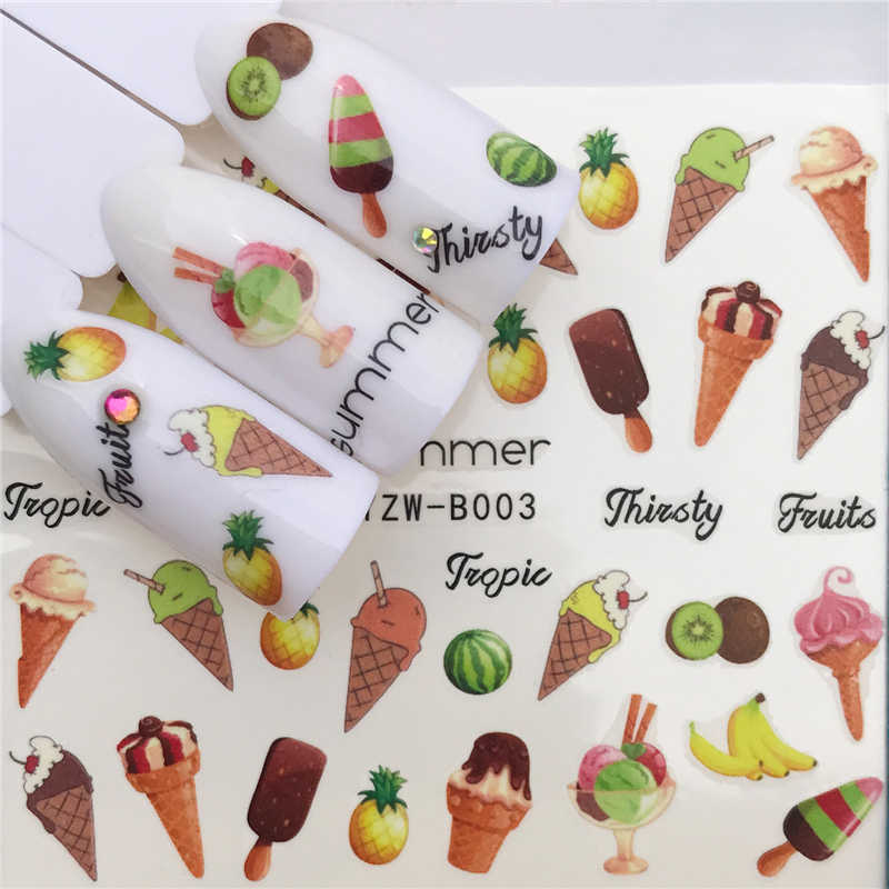 FWC Brand New 1 PC Green Grass/Flower/Fruit Water Transfer Sticker Nail Art Decals DIY Fashion Wraps Tips Manicure Tools