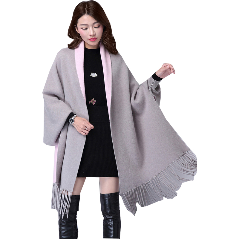 2019 Sweater Women Long Cloak Shawl With Tassel Solid Color Bat Sleeves Autumn And Winter Women Sweaters Vestidos Lxj408 Bright Luster Sweaters Cardigans