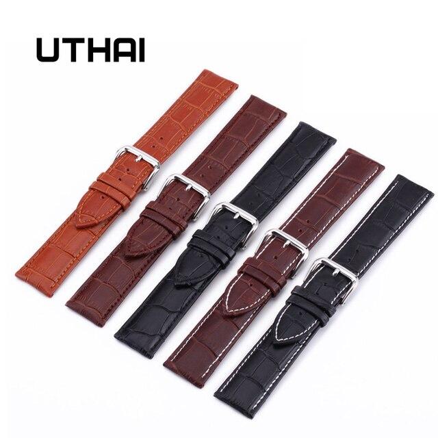 UTHAI Z08 Смотреть Band ремешок из натуральной кожи 10-24 мм часы аксессуары высокое качество коричневый цвета Ремешки для наручных часов