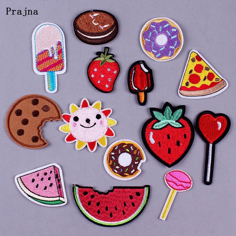 Prajna Cute Embroidered Patches for Clothing DIY Cartoon Iron on Patch to Clothes Sushi Cake Badge Patches Stickers Accessory F in Patches from Home Garden