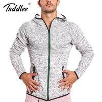 Taddlee Brand Hoodies Men Full Zipper Jacket Sweatshirt Hooded Long Sleeve Slim Fit Tee Shirts Active