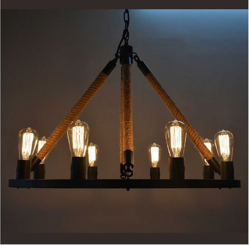 Loft Style Retro Hemp Rope Dining Room Chandelier American Country Vintage Wrought Iron Light Edison Bulb Lights Free Shipping