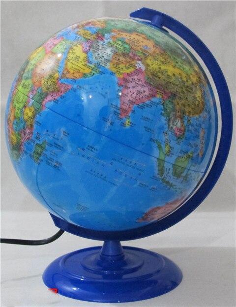 Plastique Dia 20 cm Hd bleu océan en Version anglaise et chinoise lumière LED Globe terrestre Articles d'ameublement étudiant