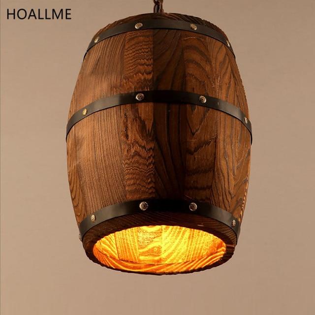 American Country Loft Wood Wine Barrel Pendant Lamp