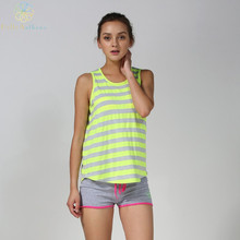 2016 Hot Search Women Green Stripes Tank Top Wear-Resisting Comfortable Running Vest Yoga Fitness Gym Sports Summer Top Pro
