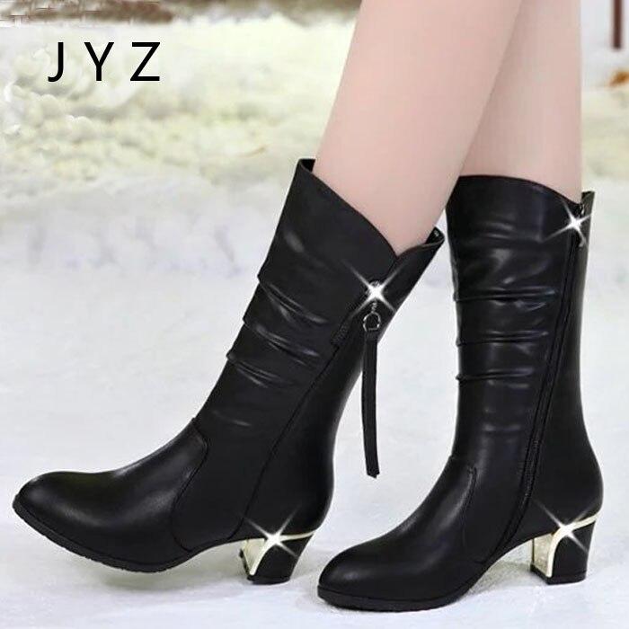 Haute Talons De Dame Neige Chaud Mode Mi Nouveau Wo180819 Bottes Garder Au Chaussures Femmes mollet Black D'hiver zAn8nBqwTx