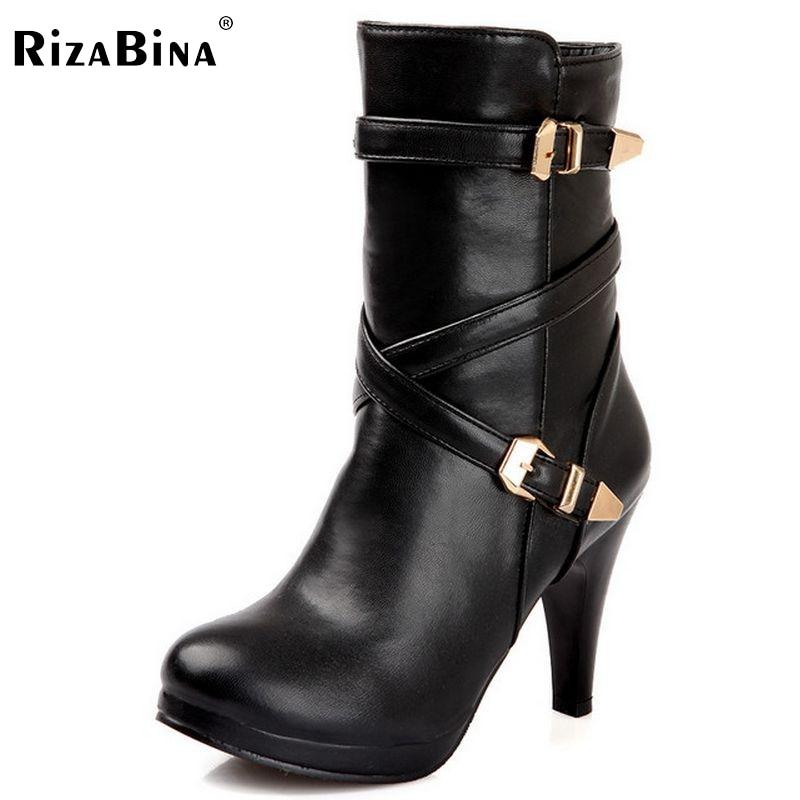 RizaBina Free shipping  half short boots women snow fashion winter warm footwear high heel shoes boot P14720 EUR size 32-48