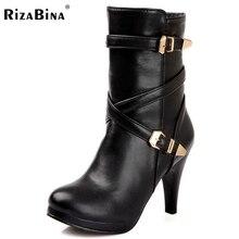 RizaBina Бесплатная доставка половины короткие сапоги женщины снег мода зима теплая обувь ботинки высокой пятки ботинок P14720 EUR размер 32-48