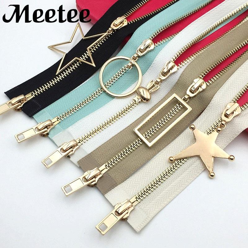 Meetee 5# Double Sliders Metal Zippers Open-End DIY Zip For Sewing Down Jacket Overcoat Zipper Clothing Accessories