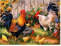 Chickens in the garden Diamond painting Diy Diamond embroidery square Diamond mosaic pasted Cross stitch Crafts Needlework B107