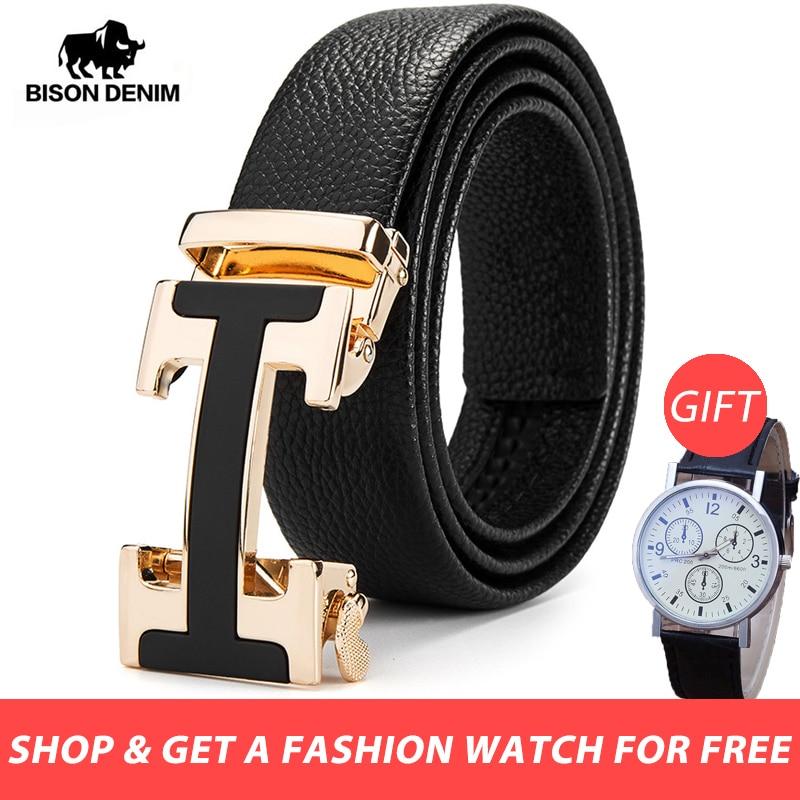 BISON DENIM Male   Belt   New Designer Men's   Belts   Luxury Man Fashion   Belt   Luxury Brand for Men High Quality Automatic Buckle N71428