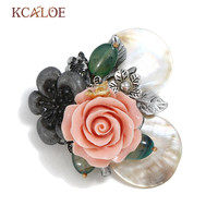 KCALOE Boho Pink Resin Flowers Hijab Pins Natural Shell Brooch Jewelry Antique Silver Color Vintage Bouquet Pins And Brooches