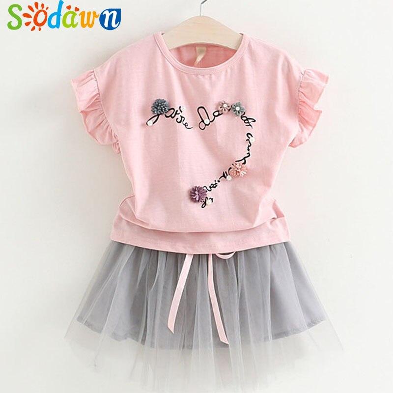 Sodawn 2018 New Summer Kids Clothing Fashion Girls Clothing Set Flower Pearl T-Shirt+Net Yarn Dress Suit Girls Clothes 2-7Y