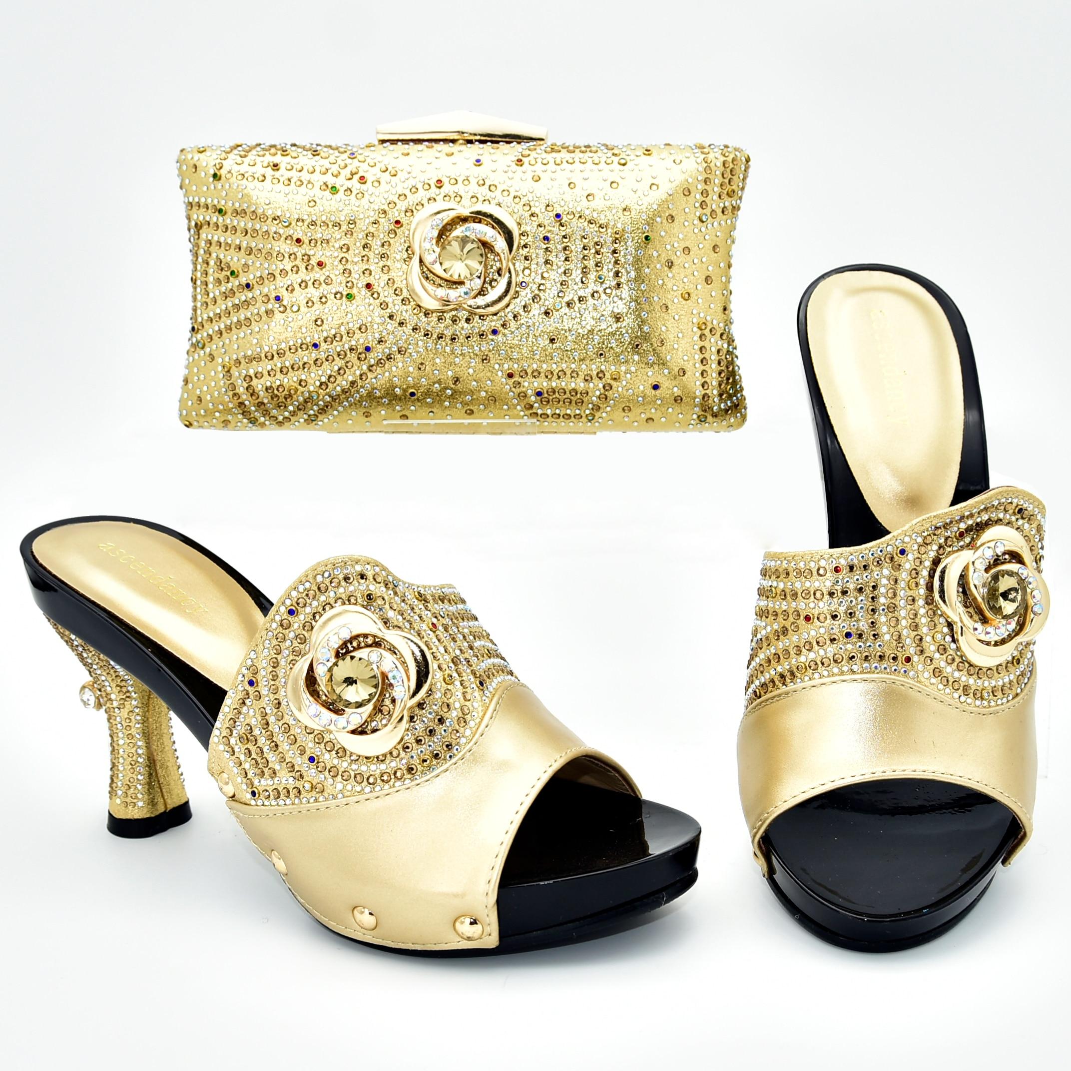 Strass or dame chaussures correspondant sac italie nouveau 2019 design pour africain aso ebi mariage chaussures sacs correspondant SB8396-4