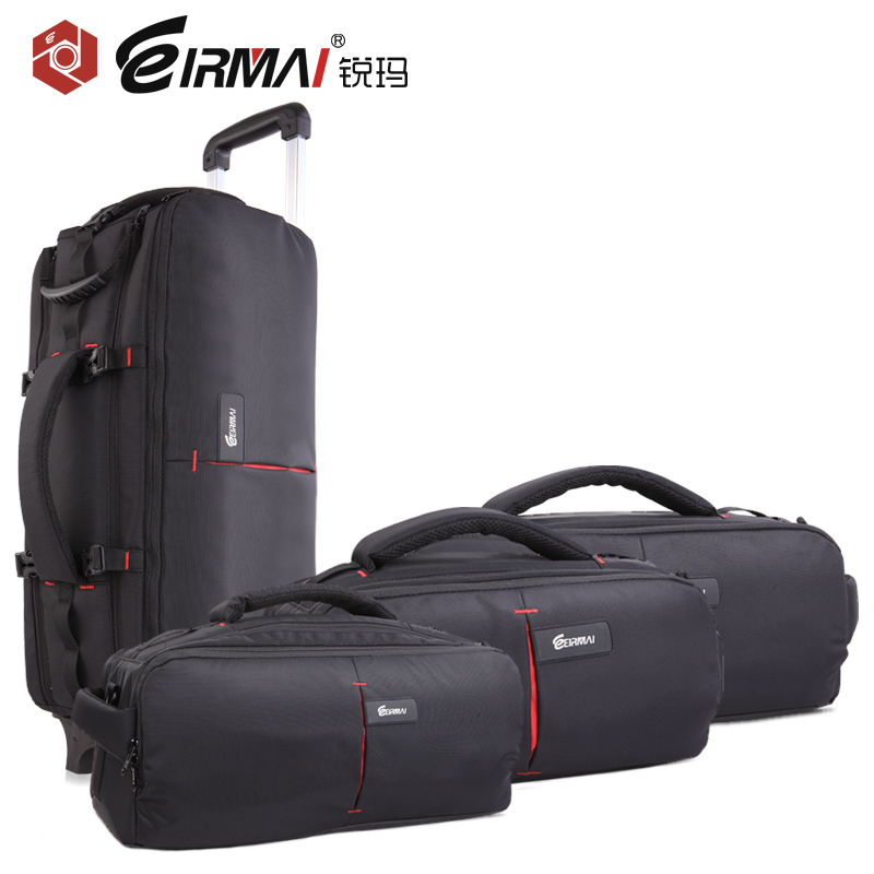 2016 High Qulaity Multi-function Camera Bag Draw-Bar Box and Backpacks Portable DSLR Photography Accessories Outdoor 9889 high qulaity black