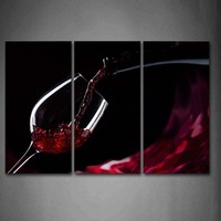 3 Panels Framed Wall Art Picture Red Wine Glass Canvas Print Food Poster With Wooden Frame For Home And Office Decor