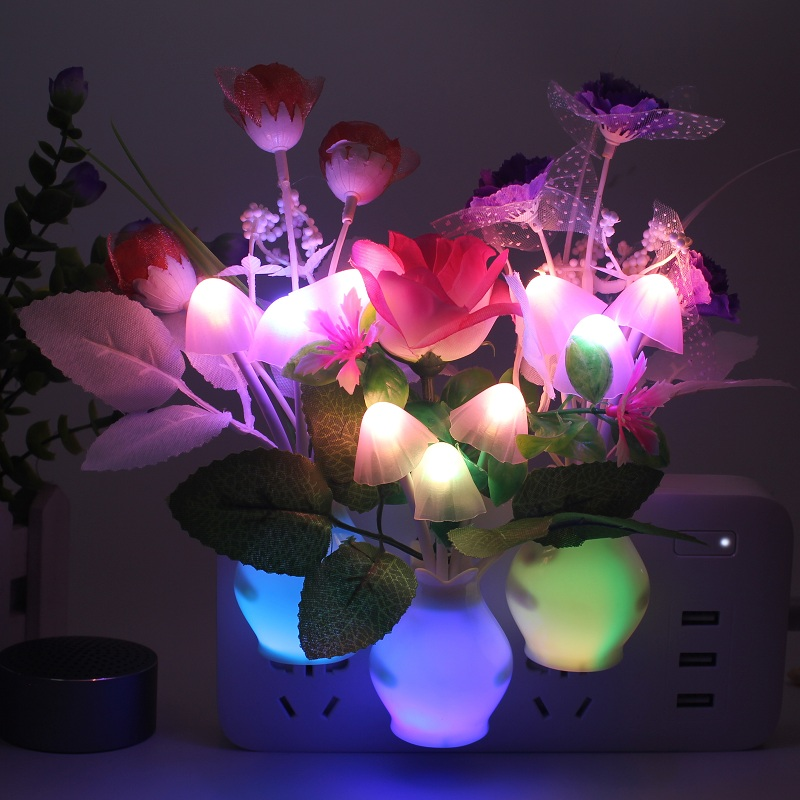 Night Light Bathroom Kitchen Bedside Light Sensor Control Led Lamp Mushroom Tulip Flower Nightlight For Home Decor