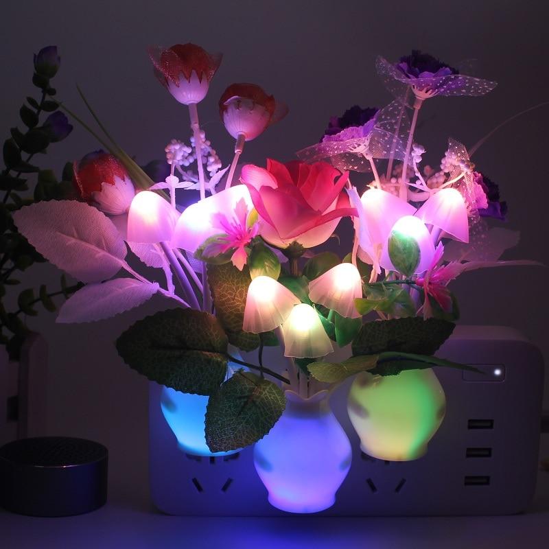 Night Light Kitchen Bedside Light Sensor Control Led Lamp Mushroom Tulip Flower Nightlight For Home Decor Children's Night Light